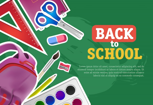 Ritorno a scuola lettering con colori ad acquerelli