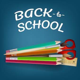 Ritorno a scuola lettering con matite colorate e forbici