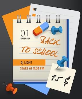 Ritorno a scuola lettering con notebook e simboli