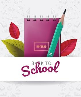 Ritorno a scuola lettering con scarabocchi, foglie e articoli di cancelleria