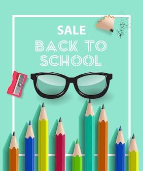 Ritorno a scuola lettering in cornice con matite