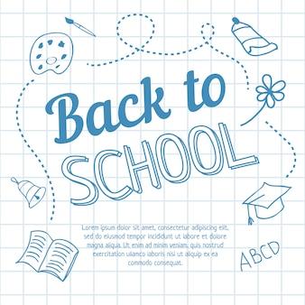 Ritorno a scuola lettering su carta a quadretti e scarabocchi