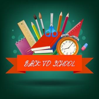 Ritorno a scuola lettering sul nastro rosso con forniture