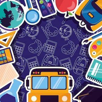 Ritorno a scuola materiale scolastico con adesivi