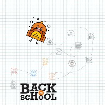Ritorno a scuola, modello per ritorno a scuola, disegno della carta ritorno a scuola