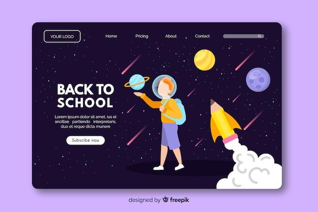 Ritorno a scuola, modello web di landing page