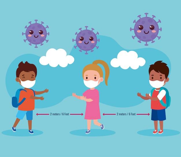 Ritorno a scuola per il nuovo concetto di stile di vita normale, bambini che indossano mascherina medica e distanza sociale