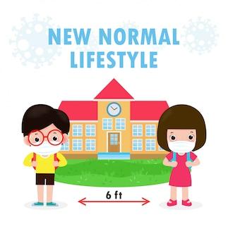 Ritorno a scuola per il nuovo concetto di stile di vita normale, social distancing.