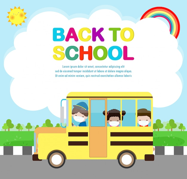 Ritorno a scuola per un nuovo concetto di stile di vita normale. felici bambini carini che indossano la maschera facciale e sociale proteggono il coronavirus covid 19 su scuolabus, bambini e amici vanno a scuola isolati