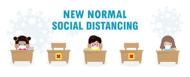 Ritorno a scuola per un nuovo stile di vita normale, distanziamento sociale in classe.