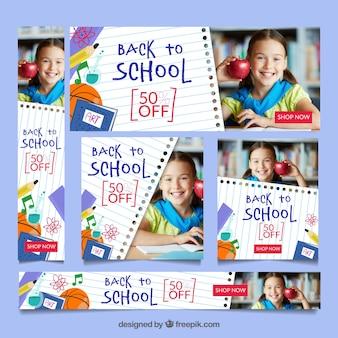 Ritorno a scuola raccolta banner web con immagini