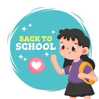 Ritorno a scuola saluto con ragazza carina