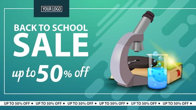 Ritorno a scuola, sconto banner web orizzontale per negozio online con microscopio