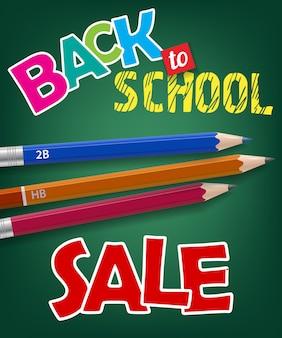 Ritorno a scuola, scritte in vendita e matite di grafite