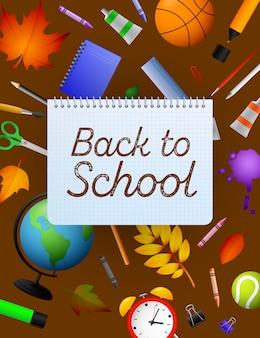 Ritorno a scuola scritte sul foglio di carta quaderno, matite