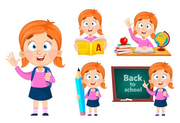 Ritorno a scuola, set di cinque pose. ragazza carina