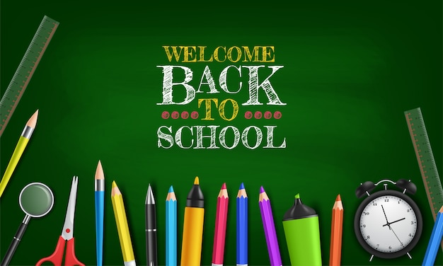Ritorno a scuola sulla lavagna verde