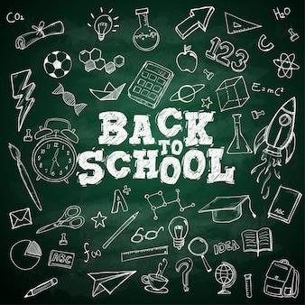 Ritorno a scuola testo scuola doodles fissi sulla lavagna