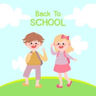 Ritorno a scuola vector.illustration of children.