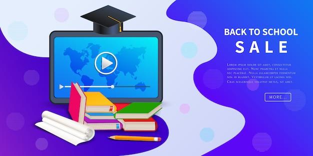 Ritorno a scuola vendita, banner web sconto per la promozione del marketing al dettaglio