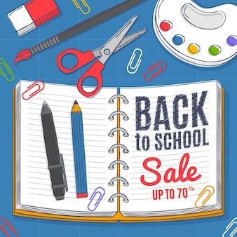 Ritorno a scuola vendita disegnata a mano