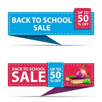 Ritorno a scuola vendita, due banner di sconto orizzontale sotto forma di un nastro con libri e boccette chimiche