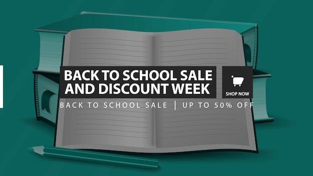 Ritorno a scuola vendita e sconto settimana, banner sconto orizzontale verde