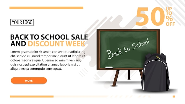 Ritorno a scuola vendita e sconto settimana, banner web bianco in stile moderno