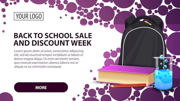 Ritorno a scuola vendita e settimana sconto, banner con zaino scuola