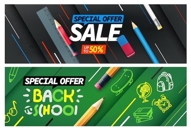 Ritorno a scuola vendita, set di banner offerta speciale