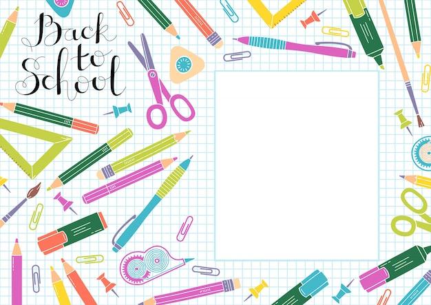 Ritorno al design scolastico. telaio di materiale scolastico e copyspace