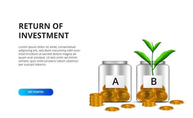 Ritorno del concetto di roi di investimento con l'illustrazione della bottiglia di vetro della gestione del denaro e della pianta dorata delle foglie dell'albero e della moneta