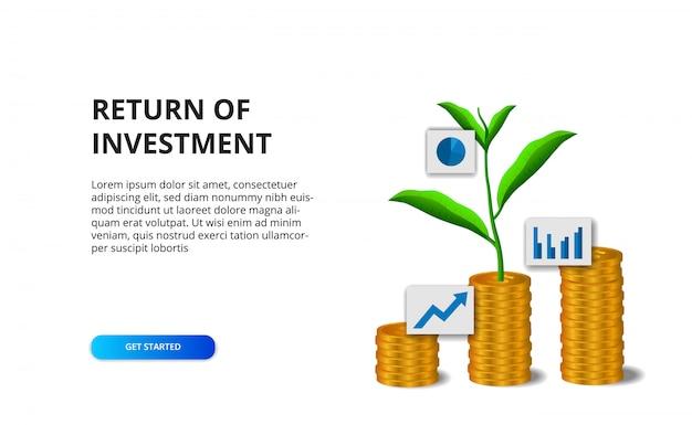 Ritorno del concetto di roi di investimento con l'illustrazione della crescita dorata delle foglie dell'albero della pianta e della moneta