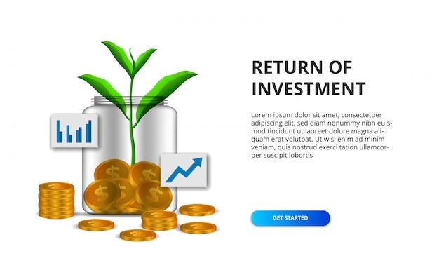 Ritorno del concetto di roi di investimento con l'illustrazione della moneta dorata nella crescita delle foglie dell'albero di pianta e della bottiglia di vetro