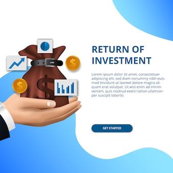 Ritorno del successo degli investimenti concetto finanza aziendale crescita freccia successo
