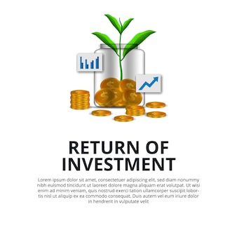 Ritorno della crescita degli investimenti investendo in borsa il dollaro di moneta d'oro e l'albero di piante crescono nella bottiglia di vetro