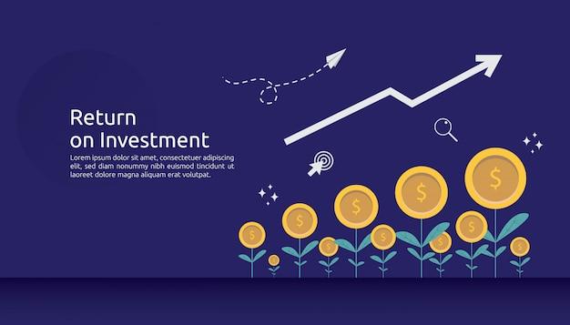 Ritorno roi di investimento o concetto di finanza aziendale di crescita