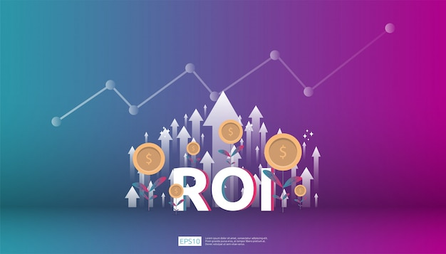 Ritorno sull'investimento, concetto di opportunità di profitto. frecce di crescita aziendale per il successo. il testo del roi con l'aumento del grafico del grafico della freccia di successo aumenta e coltiva la pianta delle monete del dollaro.