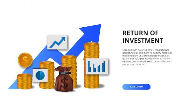 Ritorno sull'investimento roi, concetto di opportunità di profitto. crescita della finanza aziendale verso il successo. illustrazione dorata del grafico della freccia della moneta 3d