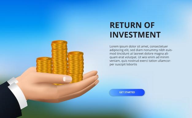 Ritorno sull'investimento roi, concetto di opportunità di profitto. crescita della finanza aziendale verso il successo. mano che tiene la moneta d'oro.