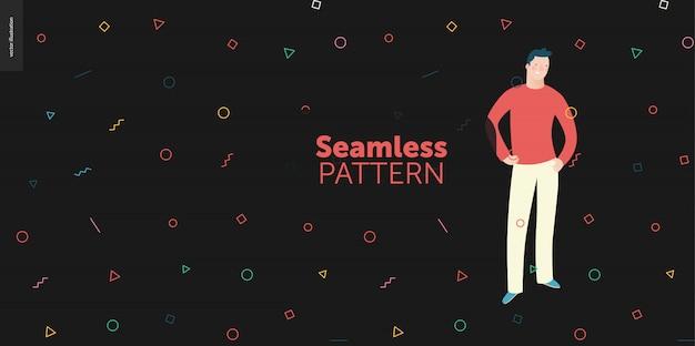 Ritratti di persone brillanti facendo geometria seamless