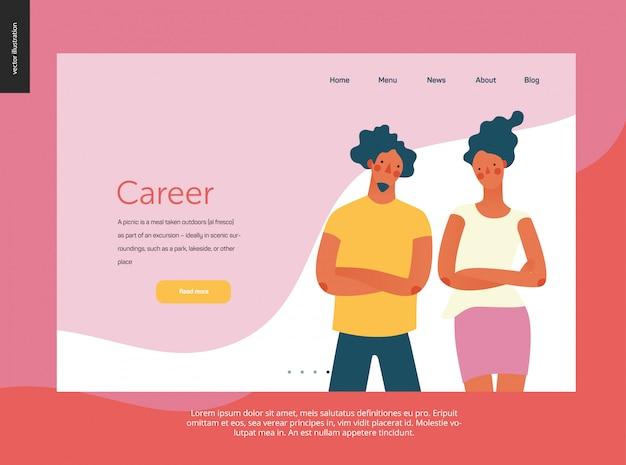 Ritratti di persone brillanti facendo modello di sito web