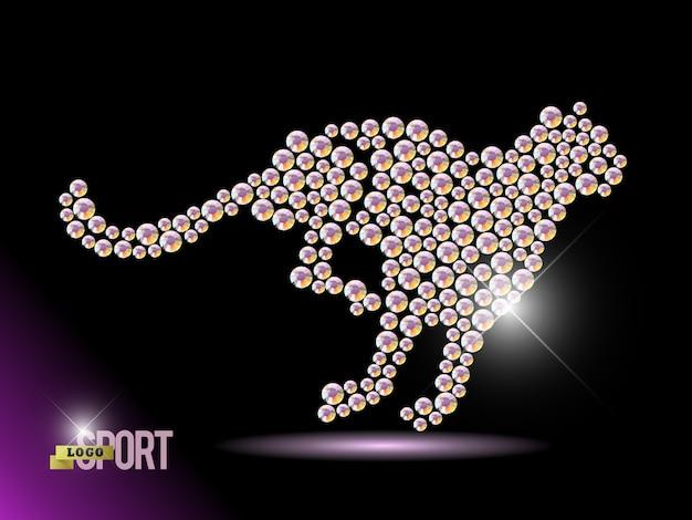 Ritratto animale realizzato con gemme di strass isolato su sfondo nero.