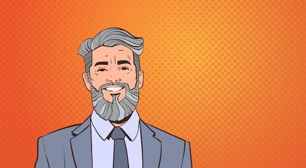 Ritratto del capo dell'uomo maggiore di affari sopra retro stile variopinto di pop art