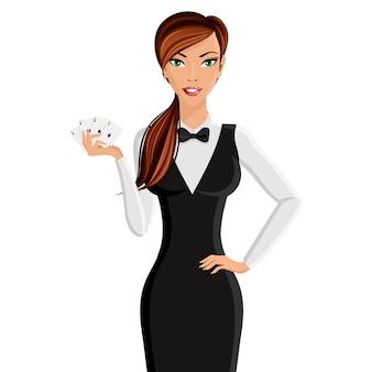 Ritratto del commerciante di casinò donna