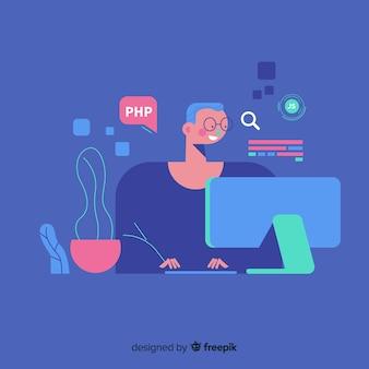 Ritratto del programmatore che lavora con il pc