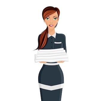 Ritratto della domestica dell'hotel della donna