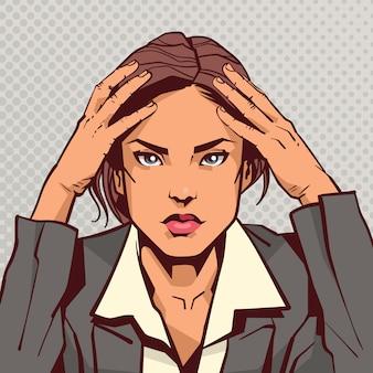 Ritratto della donna stanca depressa di affari sopra pop art vintage