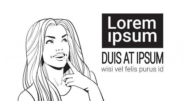 Ritratto di abbozzo di bella donna con capelli lunghi che rispetta lo spazio della copia, fronte commovente
