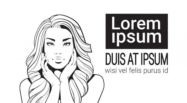 Ritratto di abbozzo di bella donna con il fronte commovente dei capelli lunghi isolato su fondo bianco